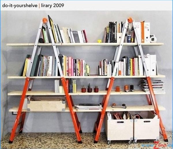 DIY homemade bookshelves