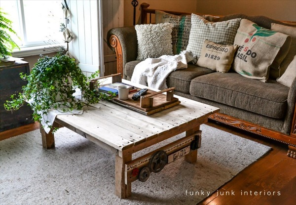 painted homemade coffee table