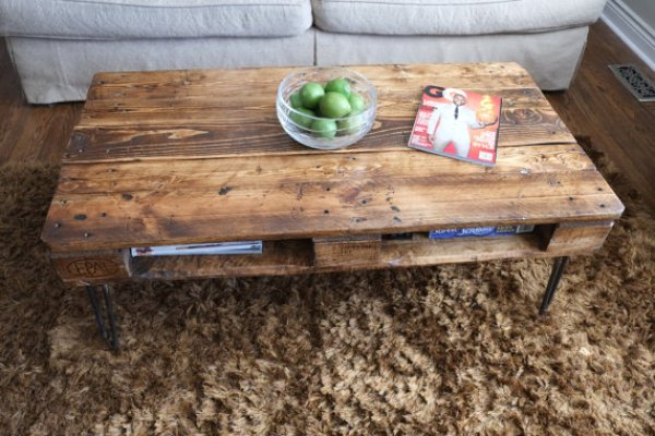 coffee table made from wooden pallets