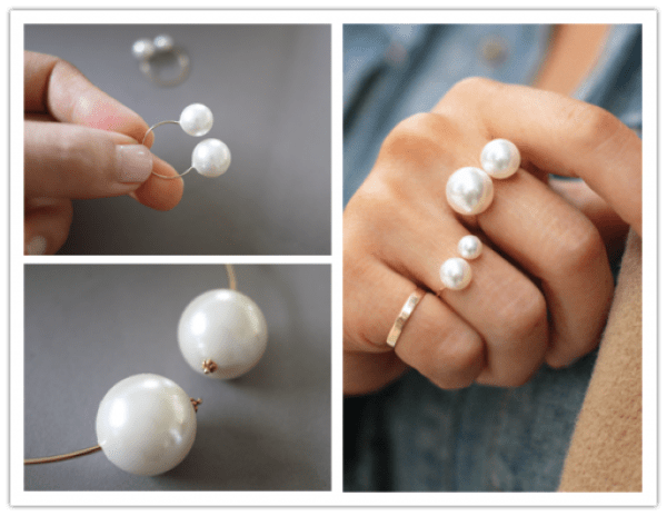 DIY Ring with Pearls