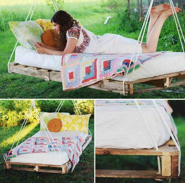 do it yourself hanging pallet bed