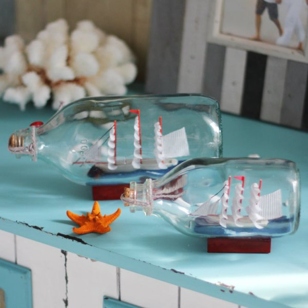 DIY Mediterranean Bottles With Boat