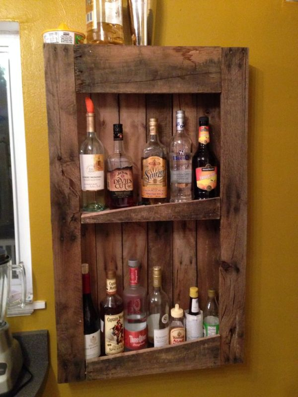 DIY Wood Bottle Shelves
