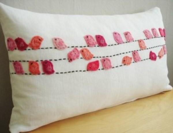 DIY Pillow with birds