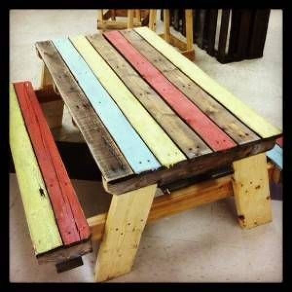 table built from wooden pallets