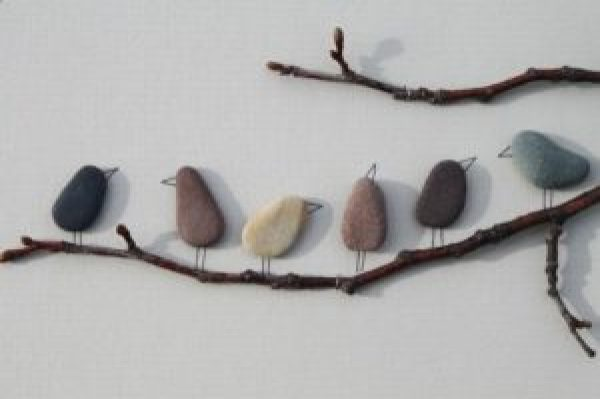 DIY Wall stone birds