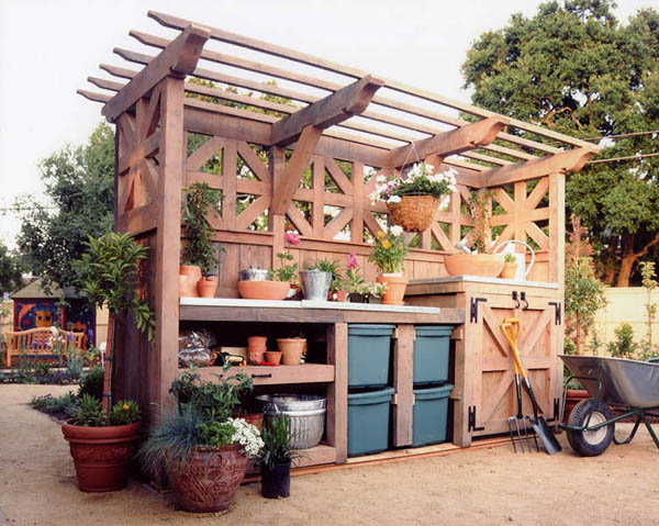 luxury potting bench with storage shelves