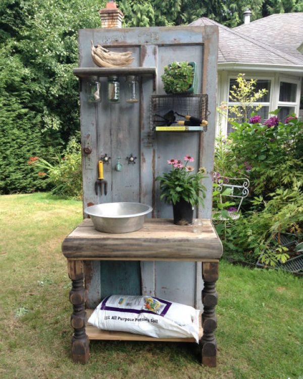 old door recycled potting bench