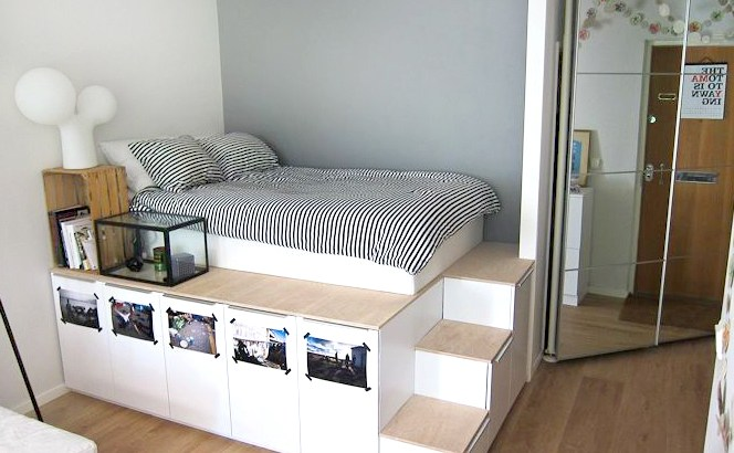 DIY wooden bed with storage