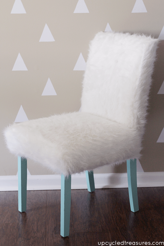 DIY turquoise legs and white faux fur chair