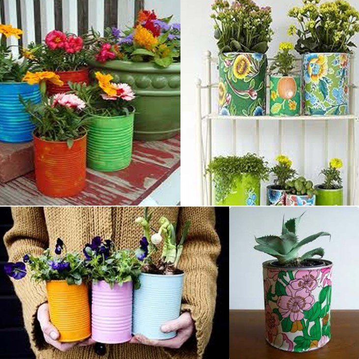 DIY creative paint can planters