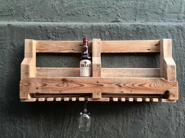 DIY pallet shelf for bottles