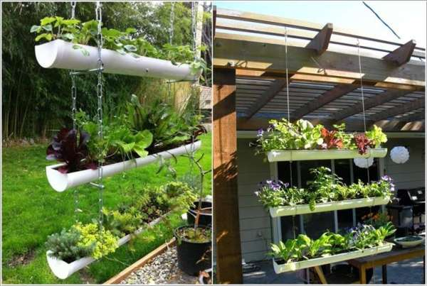 hanging gutter planter DIY ideas