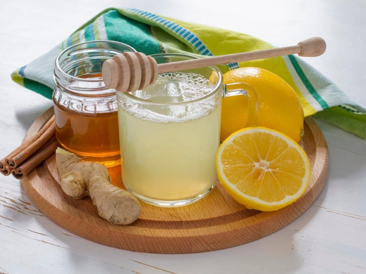 Honey and Ginger Drink with Lemon