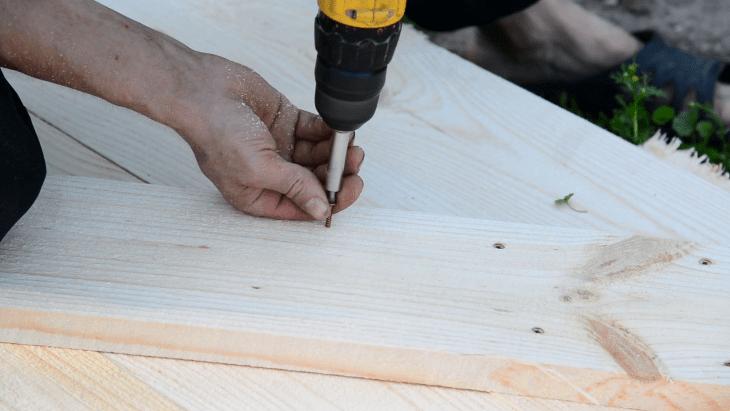 wooden planks ladder bookshelf