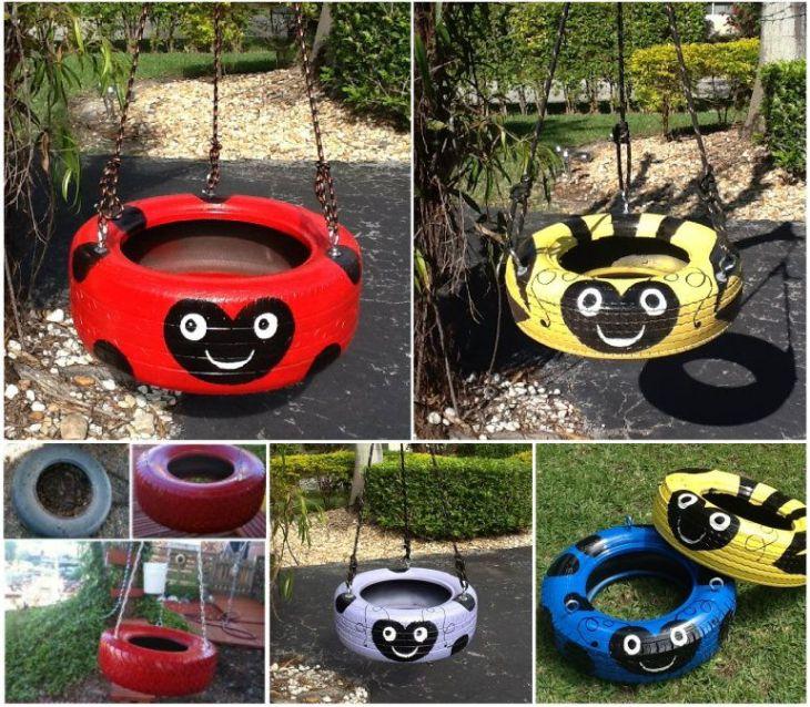 ladybug tire-swing
