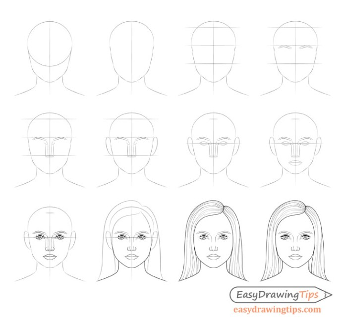 How To Draw A Female Face Step By Step Tutorial Easydrawingtips