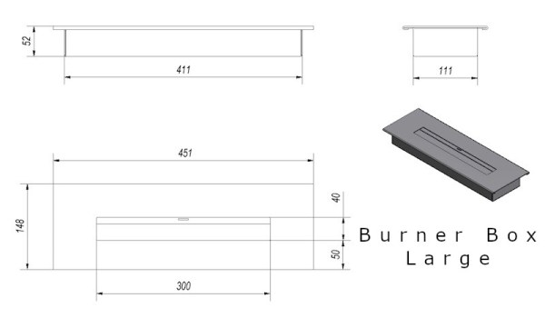 Burner Box Large Tech Drawing