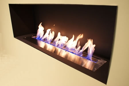 Bio Ethanol Burner, 1200mm Wide, Black Enclosure