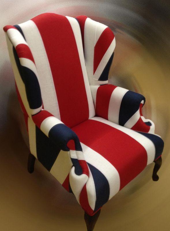 Fåtölj med engelska flaggan