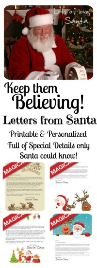 Keep them Believing with Letters from Santa! Personalize them and print them at home - ready in a jiffy!