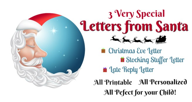 Is Santa running behind? Not to worry - we can help with our very Special Letters from Santa!! Christmas Eve, Stocking Stuffer, and Late Reply from Santa Letters make everything better! || Letters from Santa Presents: 3 Very Special Magical Santa Letters