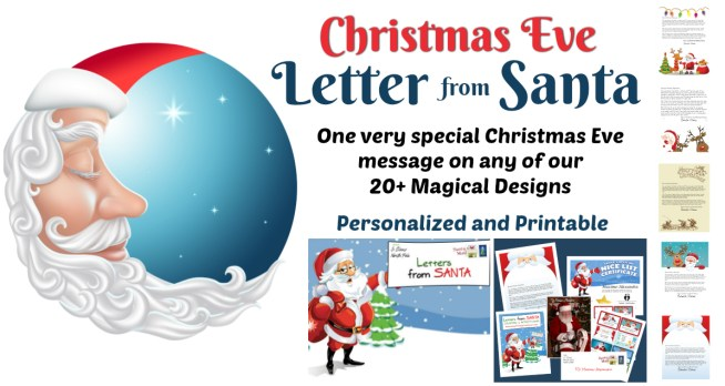 Our very special Christmas Eve Letter from Santa can be used with any of our 20+ Magical Design templates! Choose the one that fits your child and fill in the special details! Quicker than Magic Elf dust! It only takes a minute then Click and Print!! || Letters from Santa