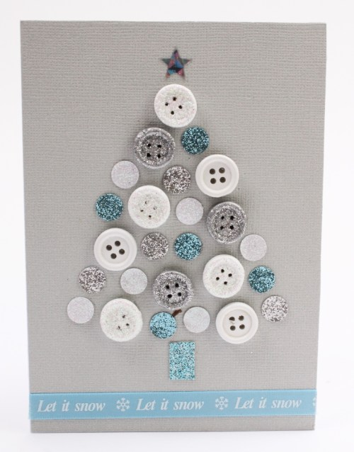How to Make a Button Tree Christmas Card via HobbyCraft || One of 10 amazing Christmas crafts kids can make for teachers, grandparents and friends! Super easy and very impressive looking! || Christmas Cards Kids Can Make: 10 More Inspiring Ideas! || Another fun Christmas post from Letters from Santa Holiday Blog