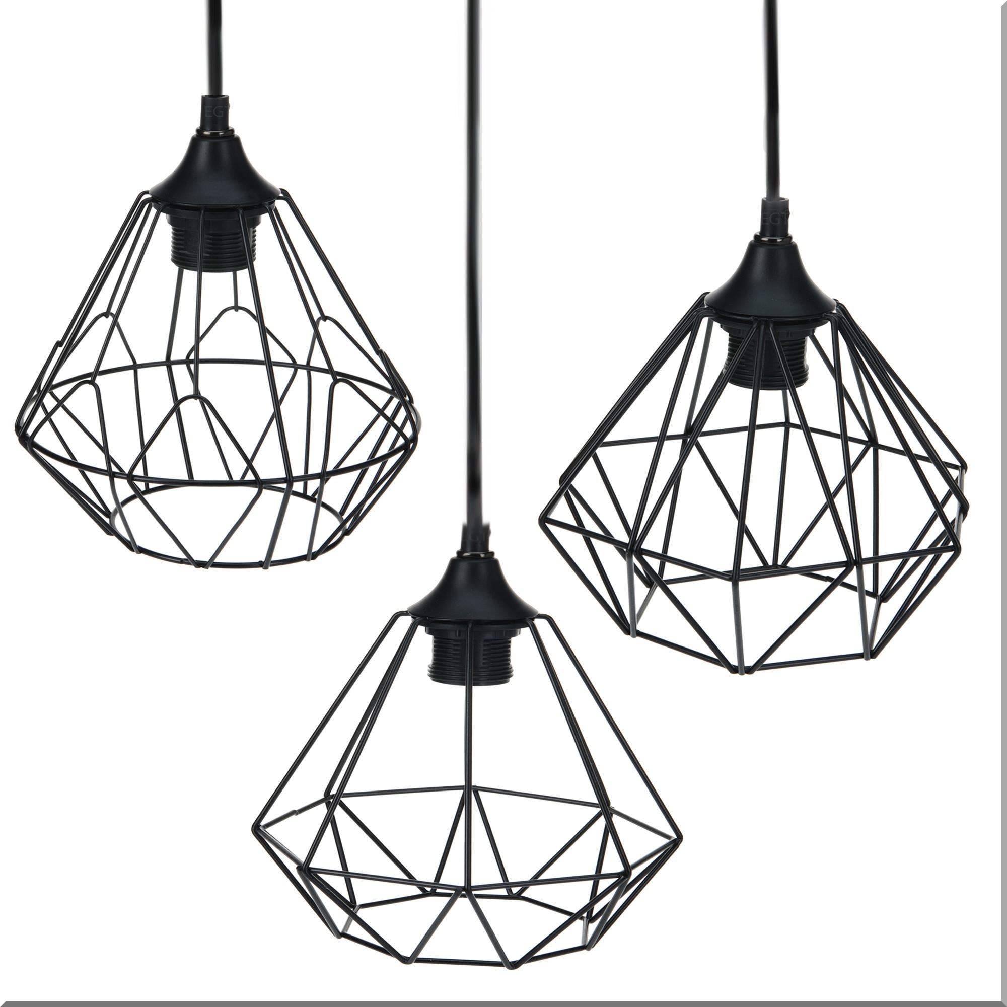 Modern Black Geometric Metal Wire Hanging Ceiling Light