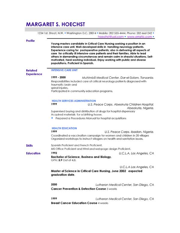 Career Profile Resume Examples | Resume Format Download Pdf