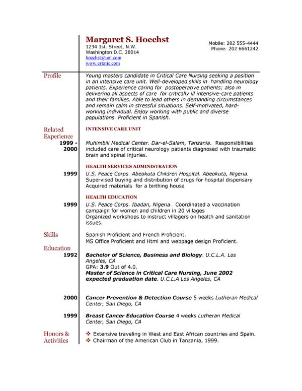 Experience Resume Example. Examples Of Experience For Resumes