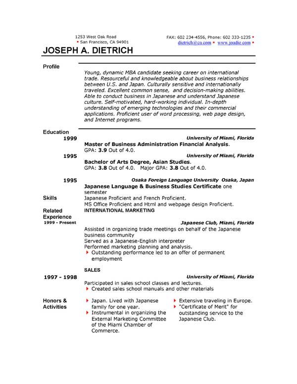 Resume Format In Word Document Download resume formats in word – Word Document Templates Resume
