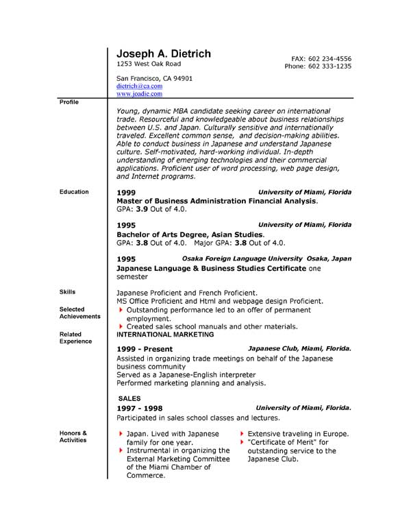 Word 2010 Resume Templates | Resume Templates And Resume Builder