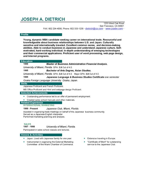 Perfect Cv Example For First Job. Resume Templates Best Examples