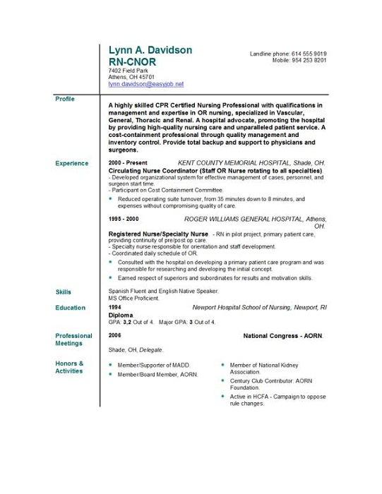 Resumes for nurses template resume sample nursing resume templates easyjob yelopaper Choice Image