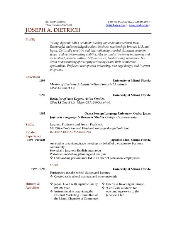 examples of a resume