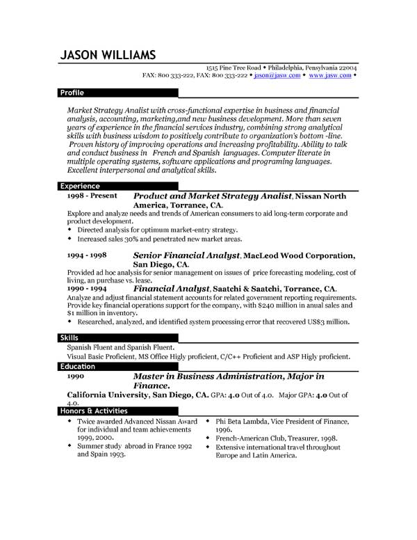 long and consistent sample resume formats