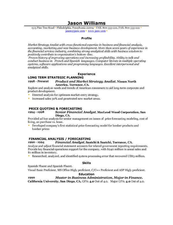 Sample Of Resume Profiles. Resume Writing Objectives Summaries Or