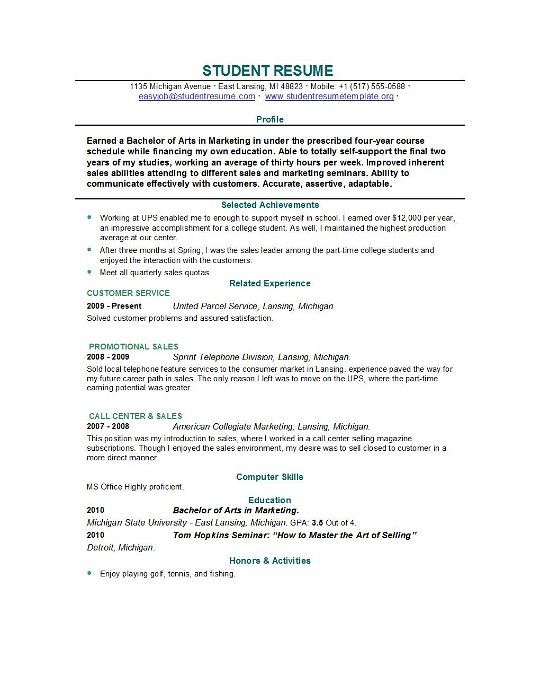 Good Student Resume Samples. Good Resume For College Student
