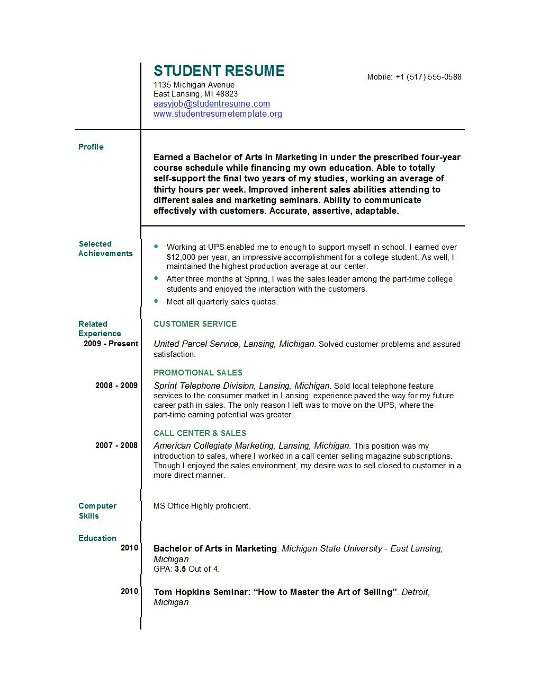 Recent College Graduate Resume Sample. Career Sample College