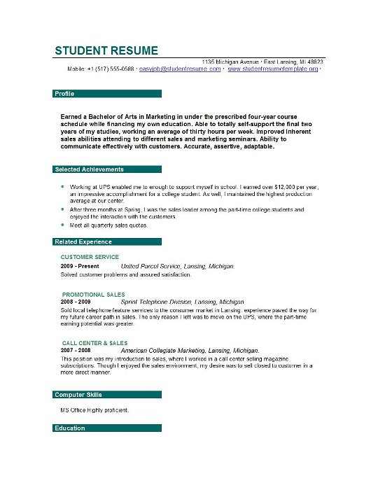 Resumes Objectives For Students. Resume Template Resume Examples
