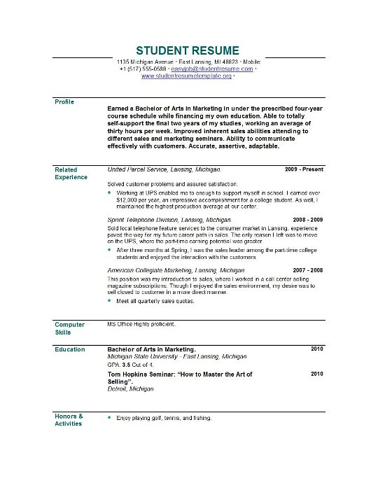 Example Of Resume For College Student | Resume Format Download Pdf