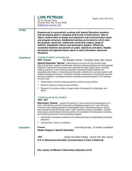 Teacher Resume Profile Examples statement teacher resume personal – Resume for Teaching Profile