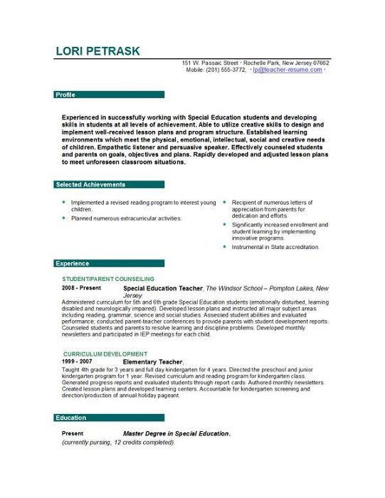 Teacher Resume Samples Writing Guide Resume Genius. 5 Resume