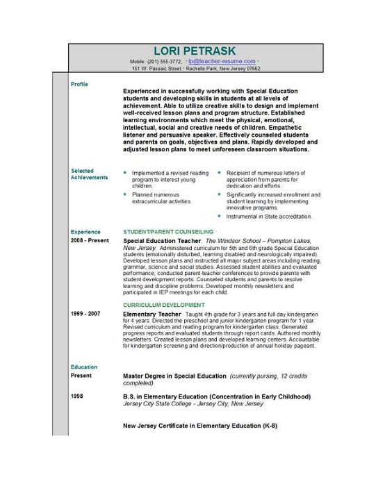 Good Teacher Resume Format. Claims Adjuster Resume Example Free