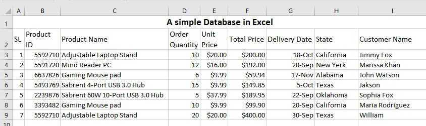 Data entering example in Excel