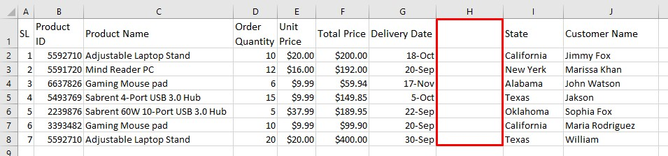 Empty column in a Excel database