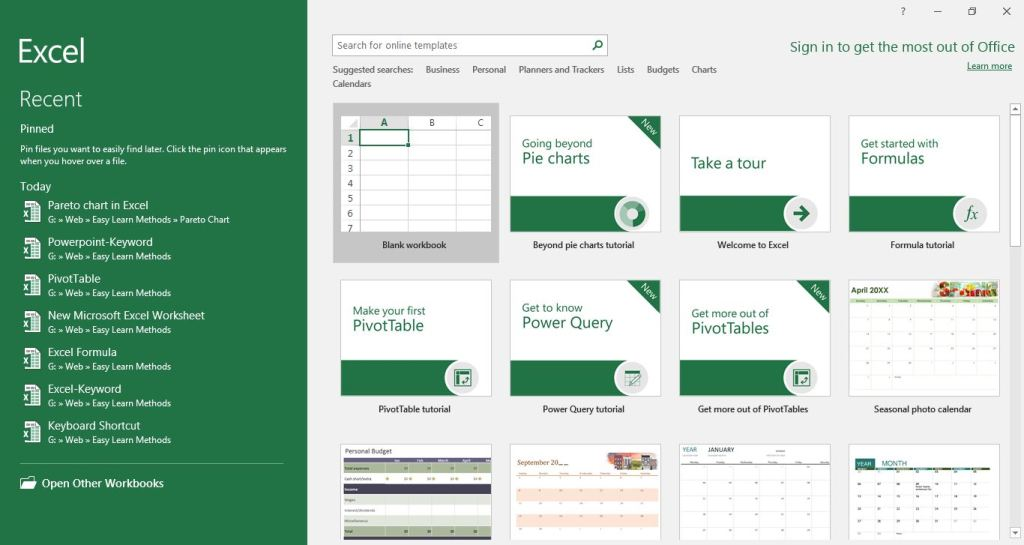 Excel first interface