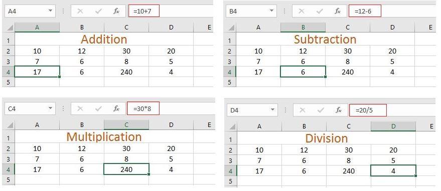 Excel addition, subtraction, multiplication, division formula