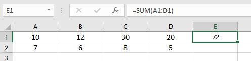 Result of sum function in Excel